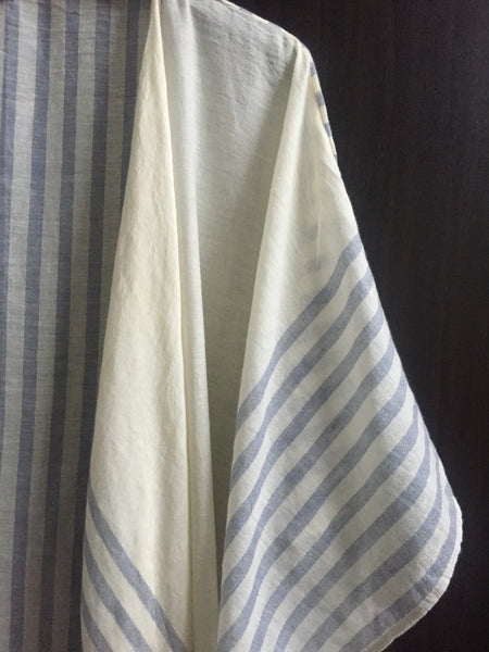 Pretty Cream & Blue Stripes Soft Long Shrug