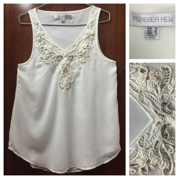Elegant White Sleeveless Top - #FTFY - For The Fun Years
