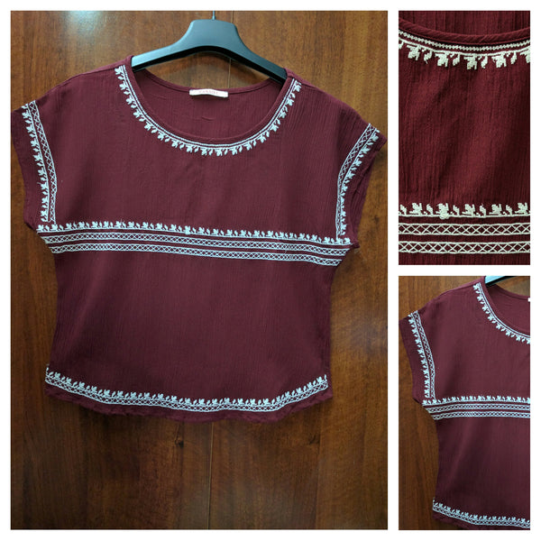 Maroon Embroidery Top - #FTFY - For The Fun Years