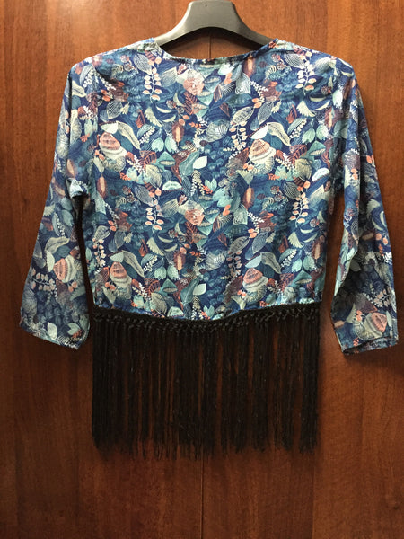 Short blue Top with Tassels.
