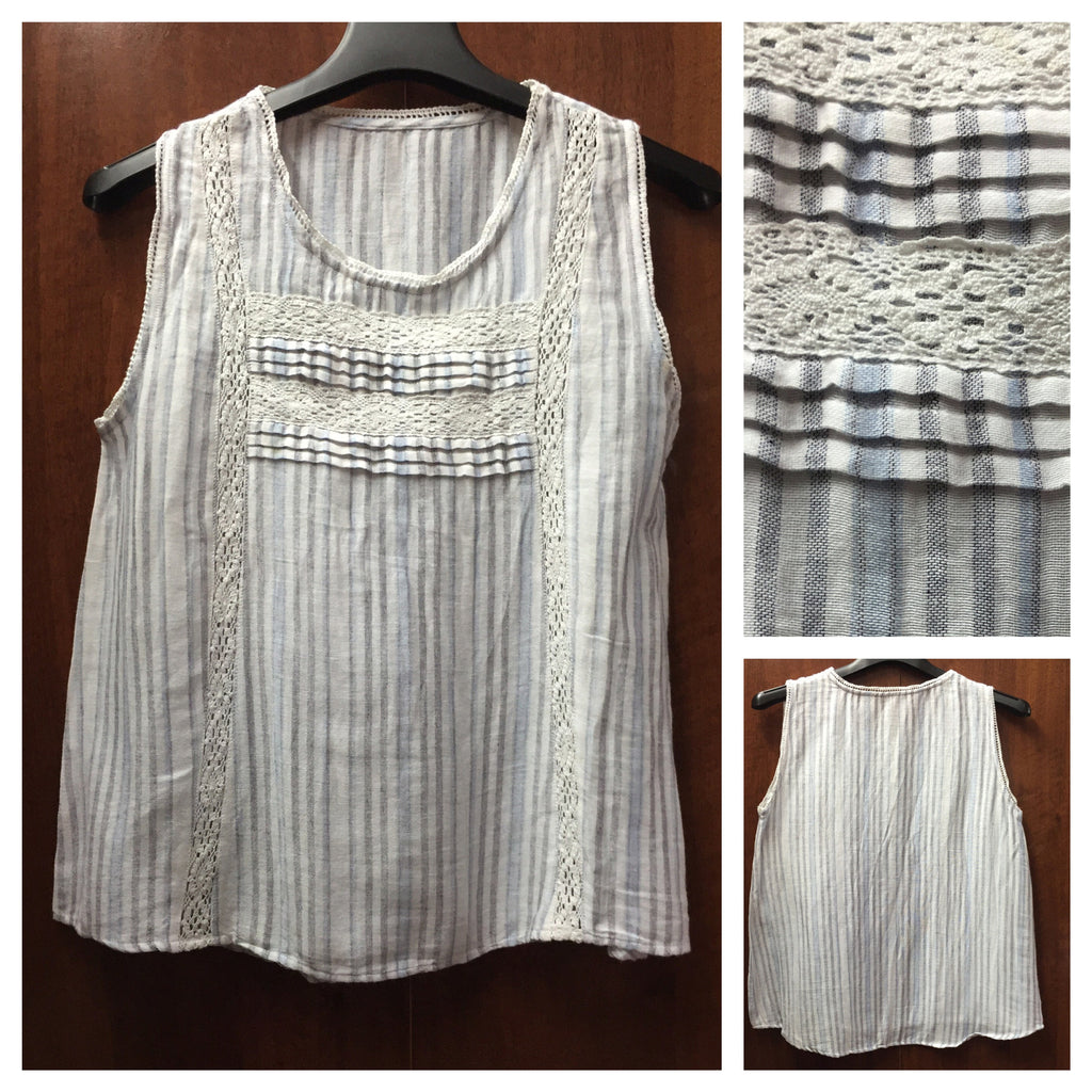 Grey - Blue Stripes Sleeveless Top - #FTFY - For The Fun Years