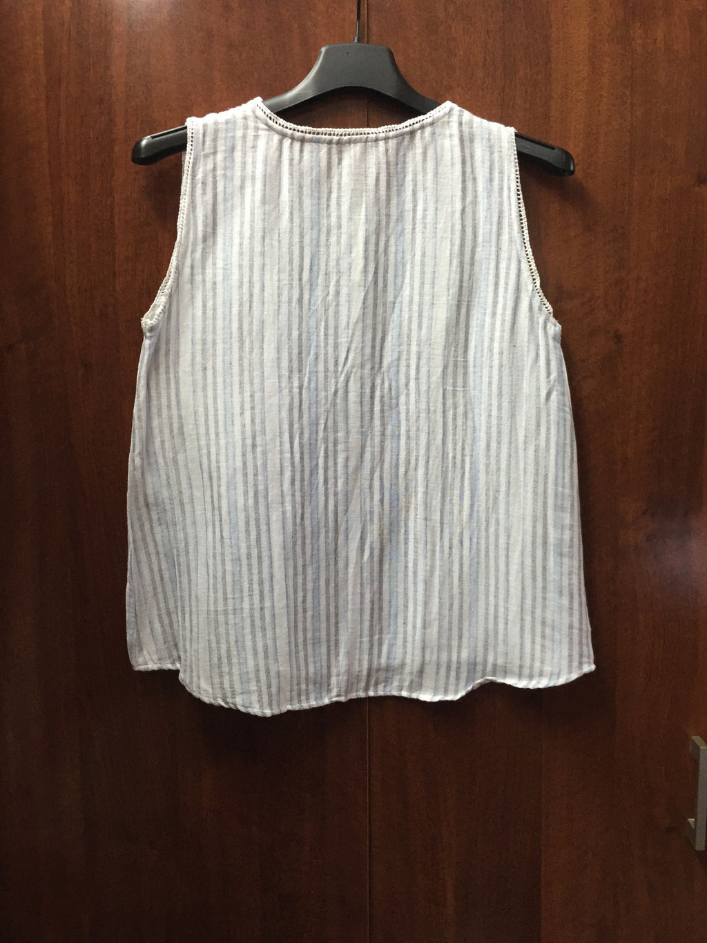 Grey - Blue Stripes Sleeveless Top