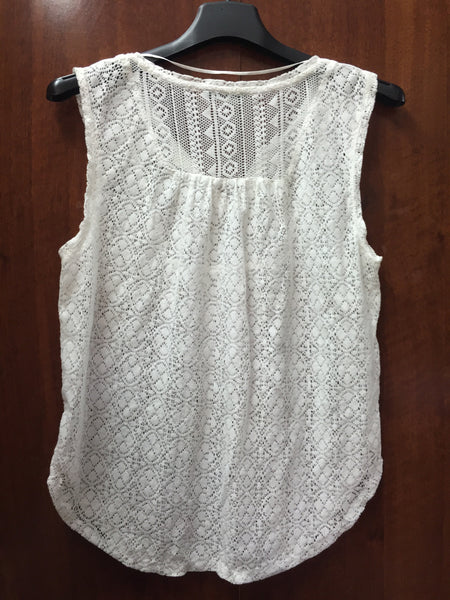 Elegant white Cotton Net Top