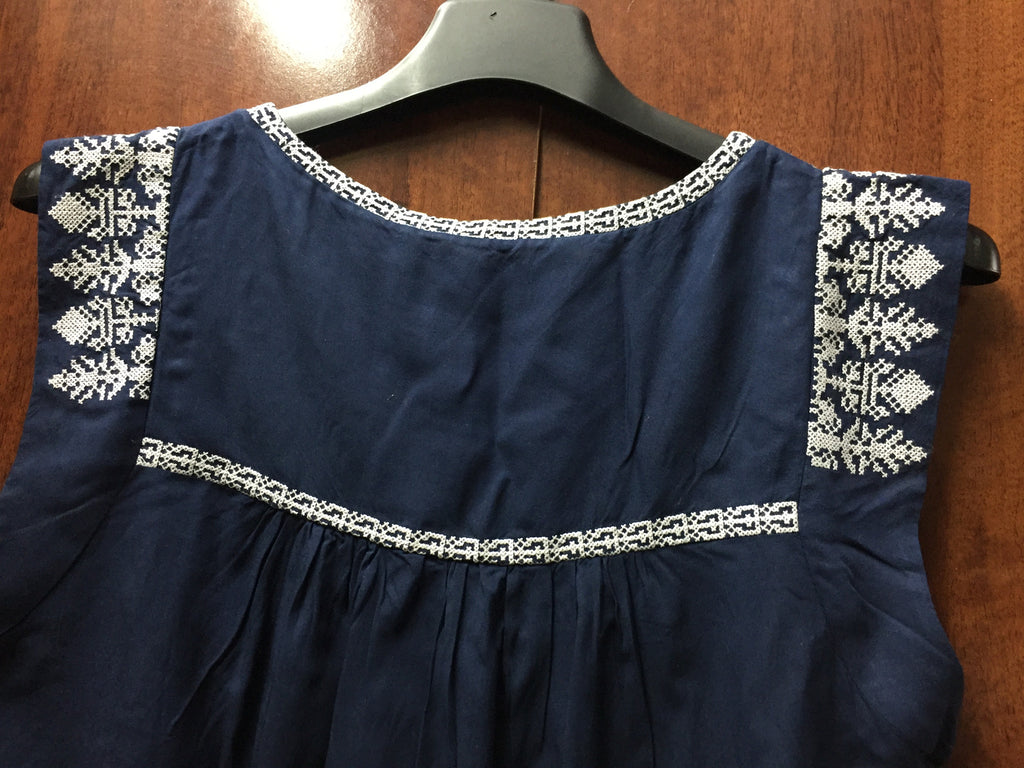 Navy Blue Tunic with White Thread Work