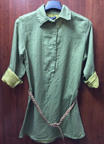 Light & Dark Green Long Cotton Top