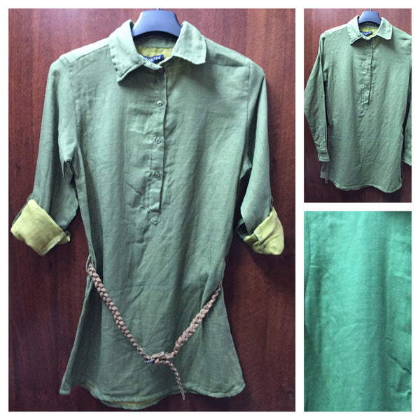 Light & Dark Green Long Cotton Top - #FTFY - For The Fun Years