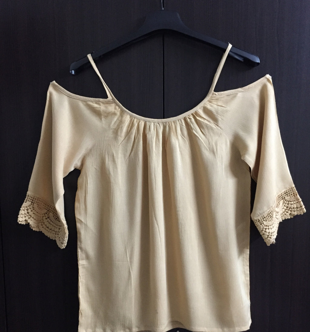 Cold - Shoulder Top - Plain Light Brown - #FTFY - For The Fun Years