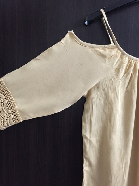 Cold - Shoulder Top - Plain Light Brown