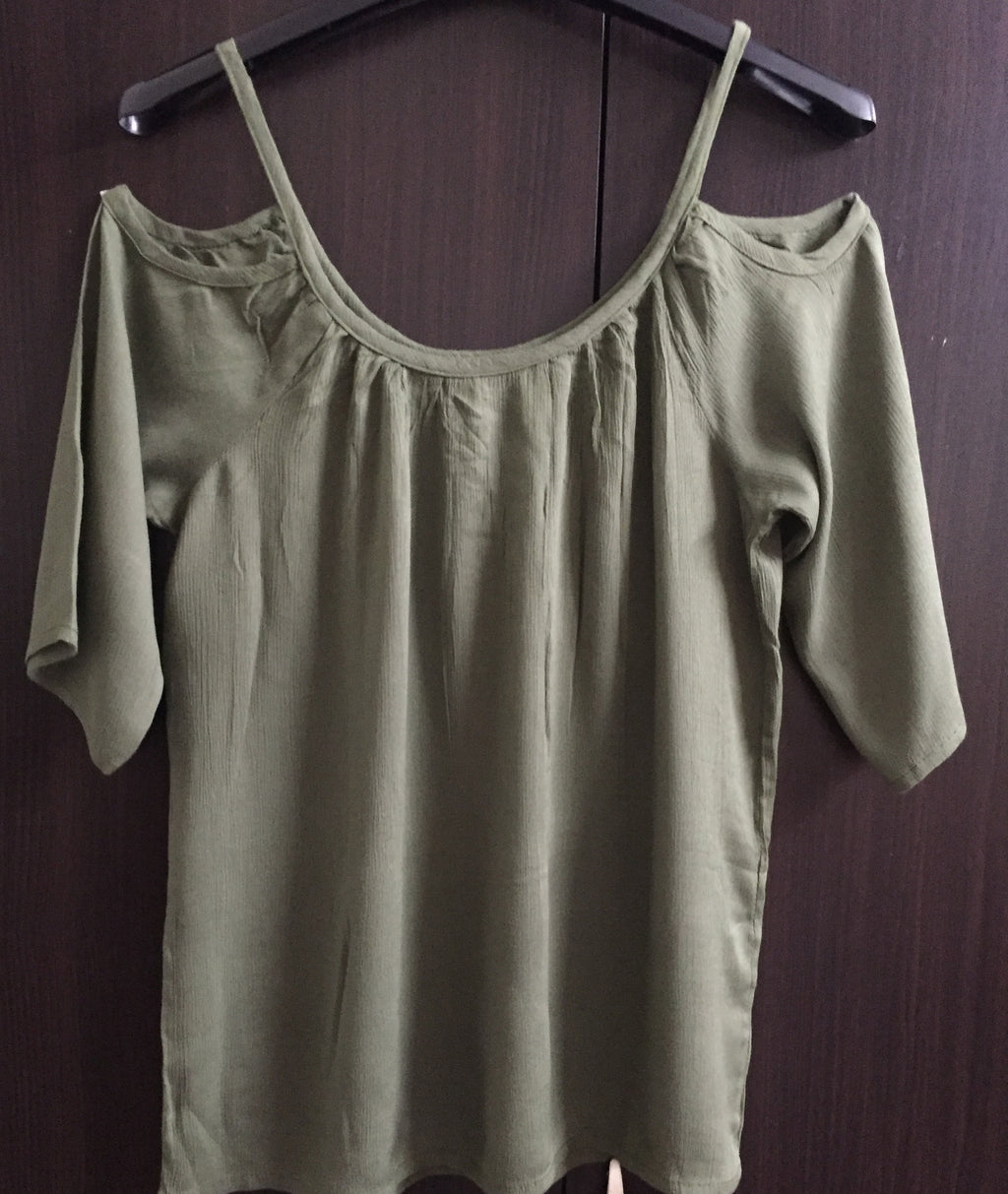 Cold - Shoulder Top - Plain Sage Green - #FTFY - For The Fun Years