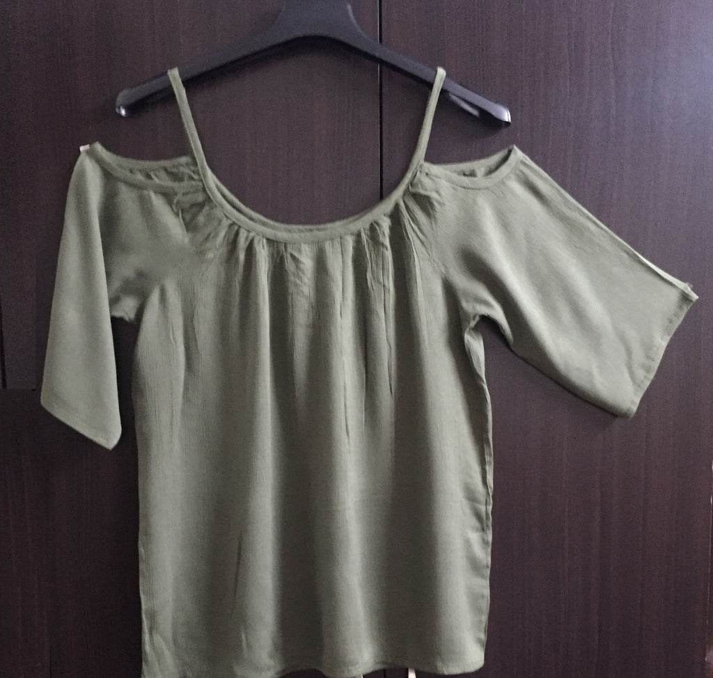 Cold - Shoulder Top - Plain Sage Green