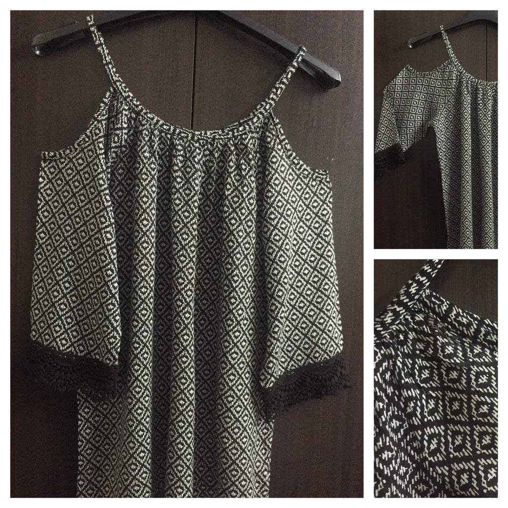 Printed Cold - Shoulder Top, white Rhombus on Black background.
