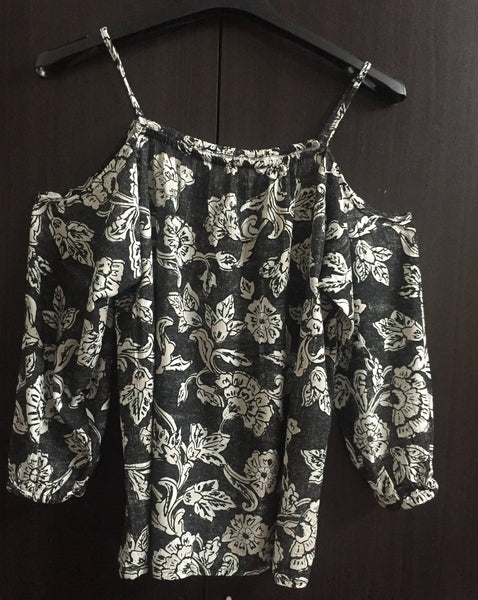 Printed Cold - Shoulder Light Brown Flowers on Washed Out Black background.