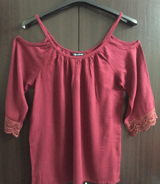 Cold - Shoulder Top - Maroon - #FTFY - For The Fun Years