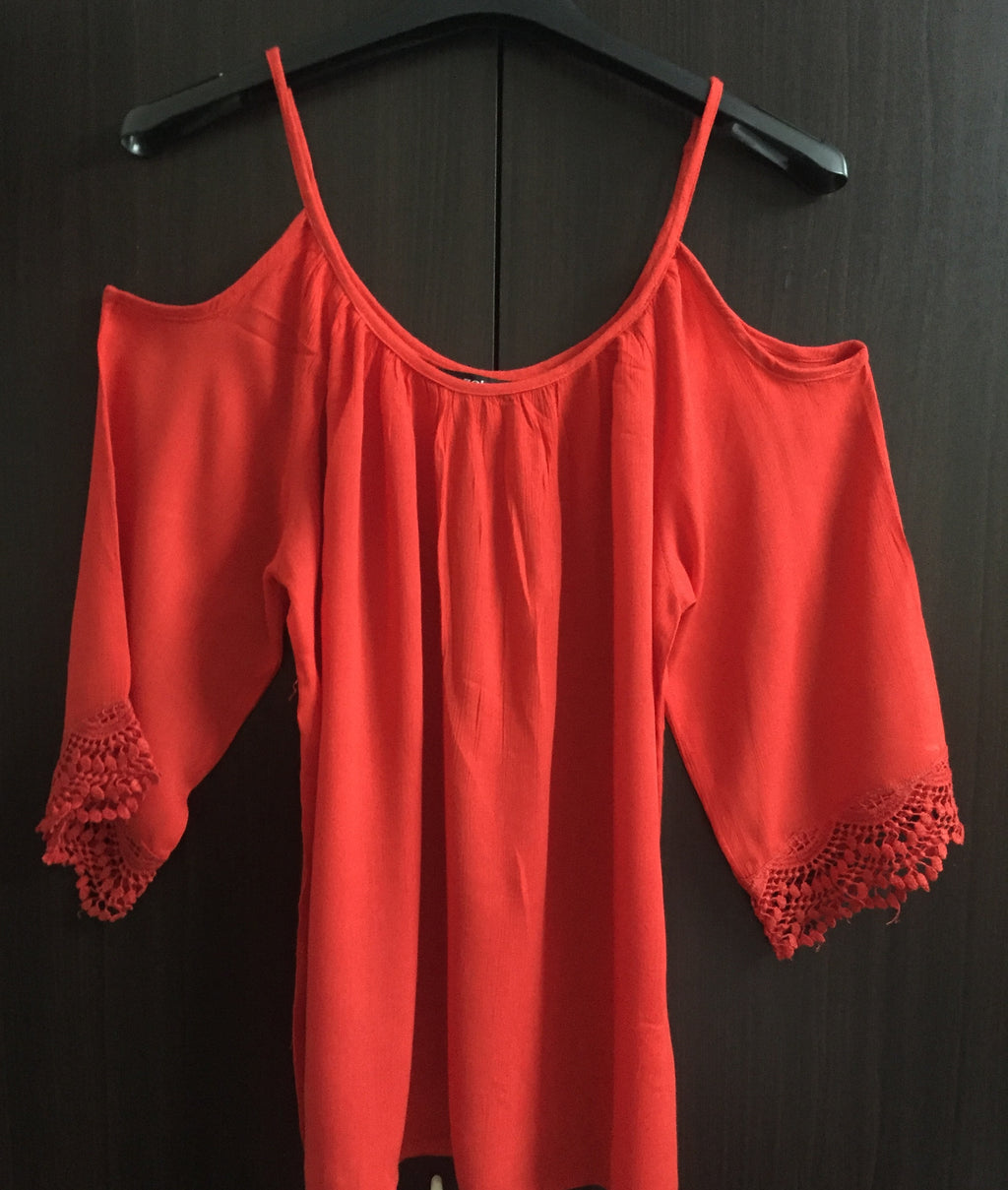 Cold - Shoulder Top - Bright Red