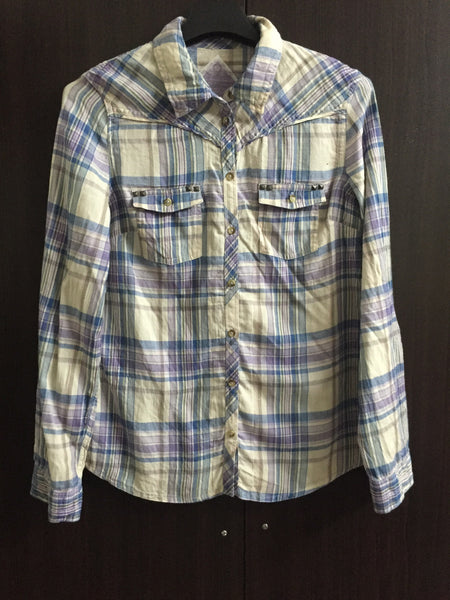 Cream - Grey - Green Check Shirt with studds on pockets