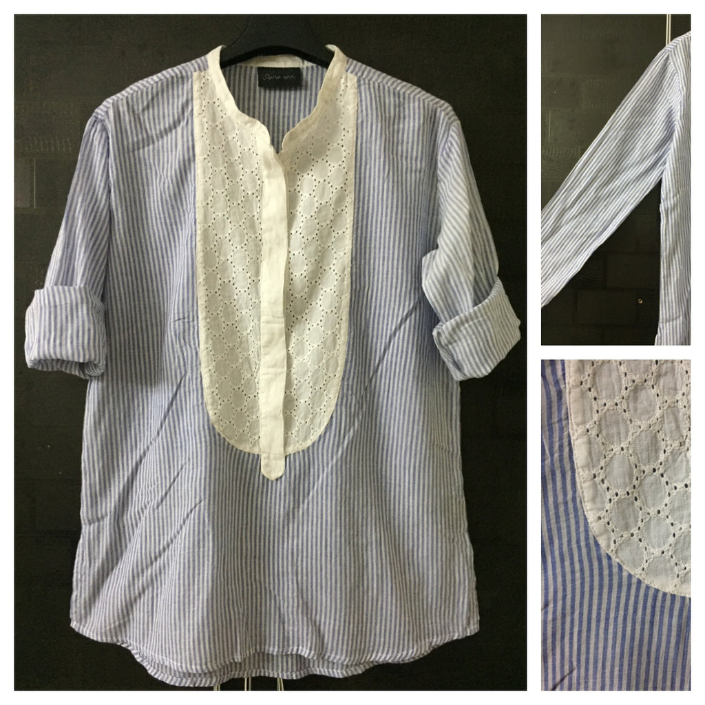 Stripes - Shirt Style Top with front Design
