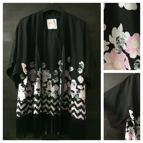 Oriental Style Black Shrug with Pretty Pink Flowers and Black Tassels