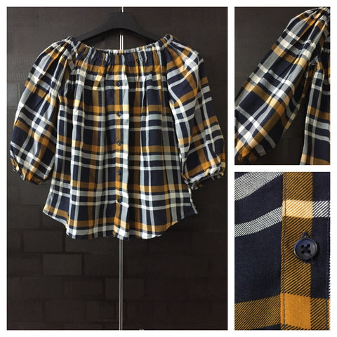 Checked -  Mustard-Blue and White , On-Off shoulder Top