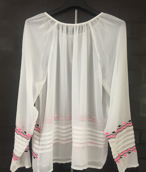 White Casual Top with Pink - Black Thread work