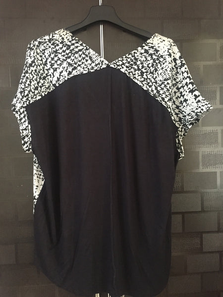 Front Printed and plain Black Back Casual Top