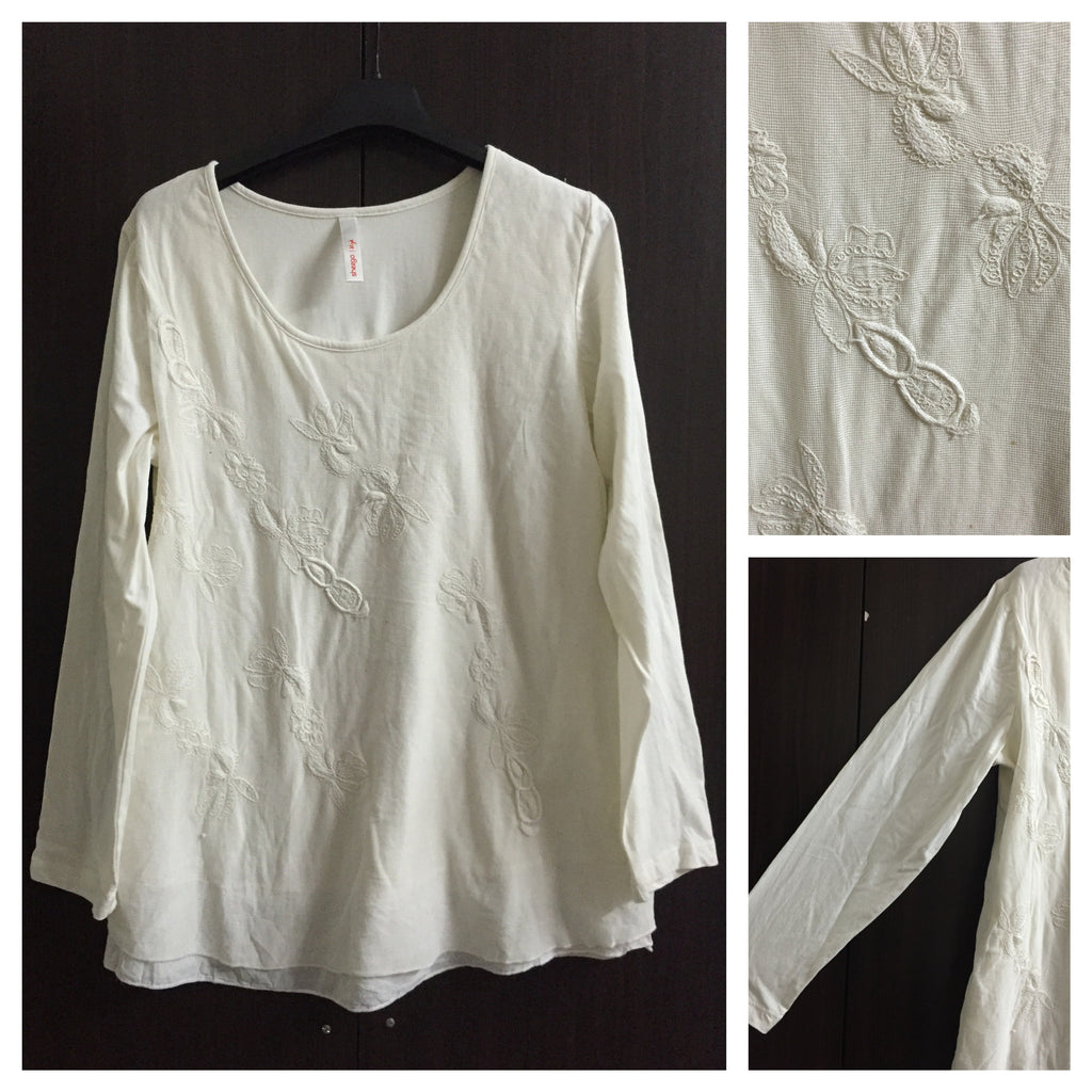 Little Warm, Cream Embroidery Top with lining on front