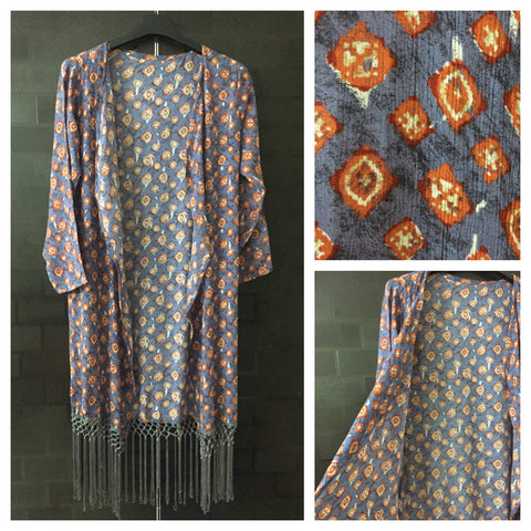 Grey Tasseled, Orange / Cream Rhombus Design on Grey-Blue Long causal Shrug
