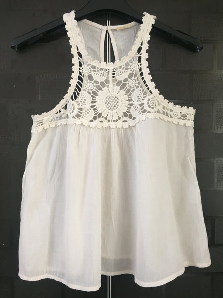 Pretty Threadwork on Front, Stylish Racer back Cream Top