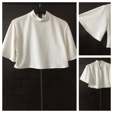 Croped - Caped White top with bell sleeves