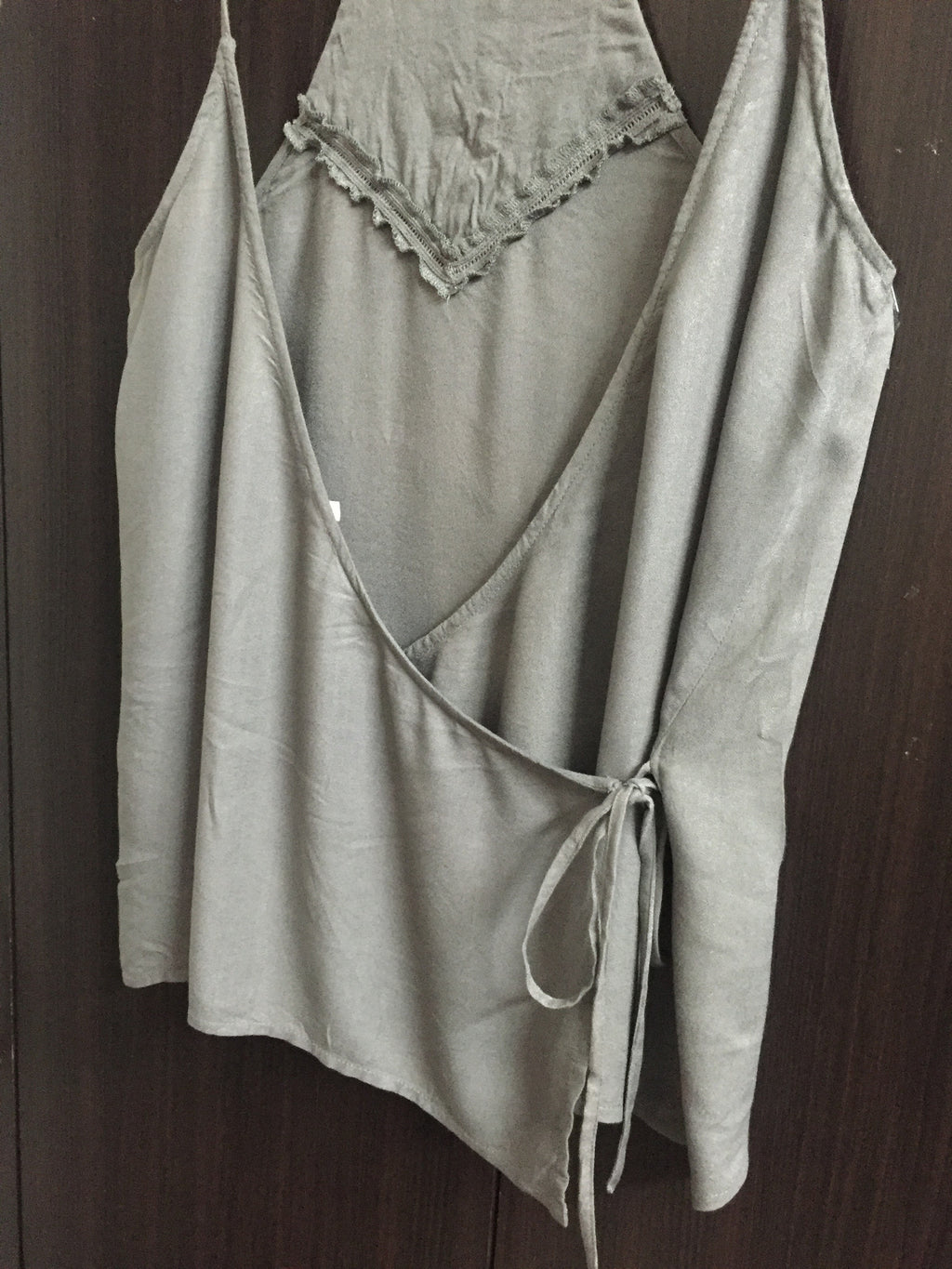 Elegant Grey Side -Tie Top with embroidery design