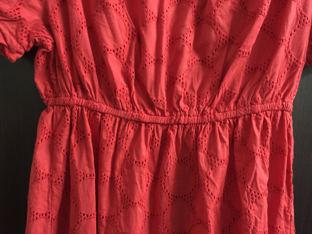 Red Fitted Cut-Work Short Dress