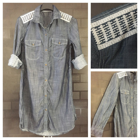 Little Shimmer - Stylish denim Shirt-dress