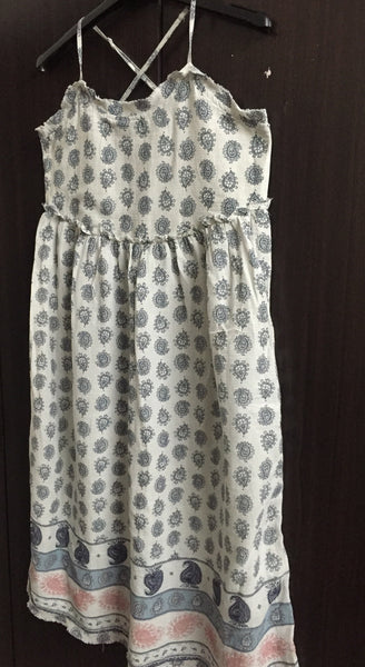 Light Grey Dress with Blue Block Prints