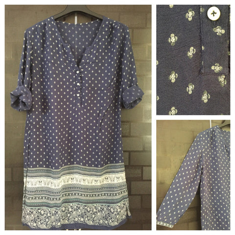 Navy Blue Printed Long Tunic
