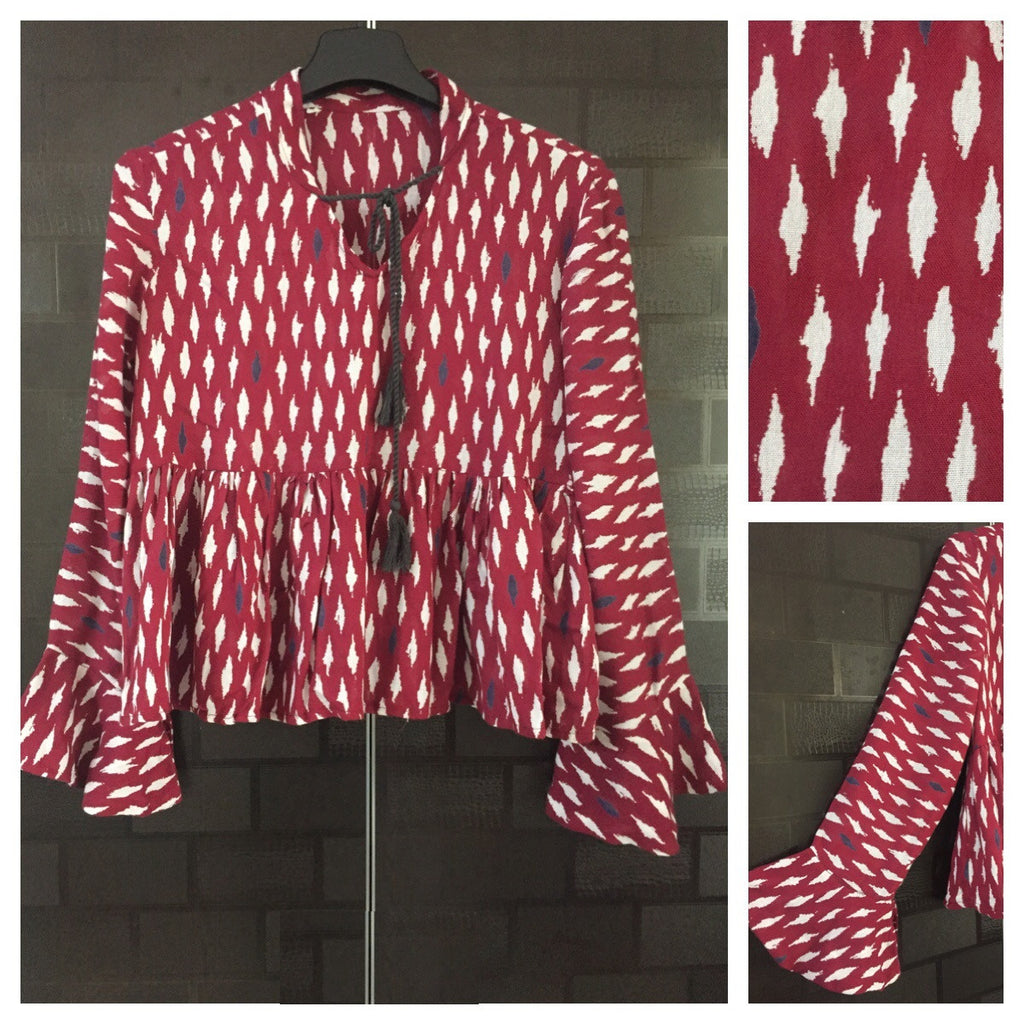 Deep Red Top with Ruffled Sleeves and little white prints