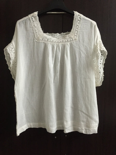 White Poncho Top with lace on sleeves and neck