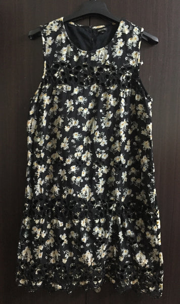 Printed Black - Green Floral Dress with Cut-work