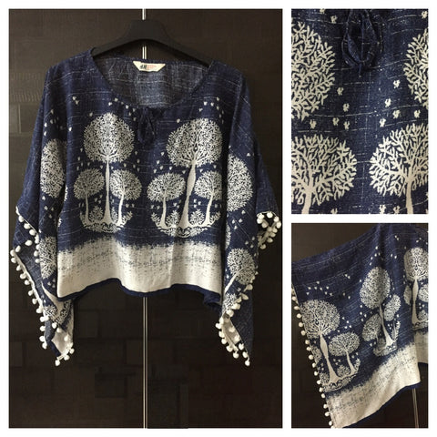 Printed Poncho Style Top - Trees in the night Sky with White Pom-Poms