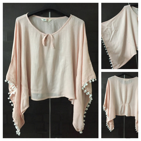 Elegant Plain Poncho Style Top - Lightest Pink with White Pom-Poms