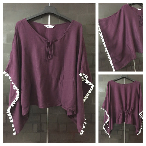 Elegant Plain Poncho Style Top - Wine color with White Pom-Poms