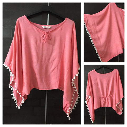 Elegant Plain Poncho Style Top - Pink Colored with White Pom-Poms