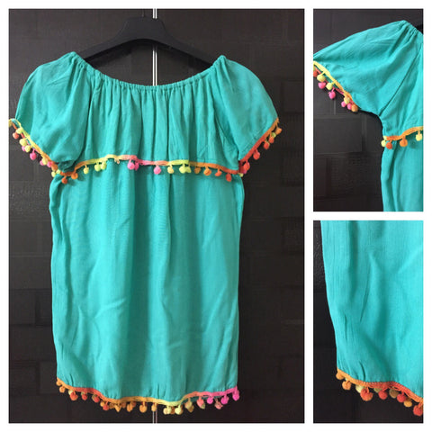 Colored Pom-Poms - Green On-Off Shoulder Top
