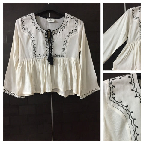 Stylish Flared - Short Length Embroidery Top - White