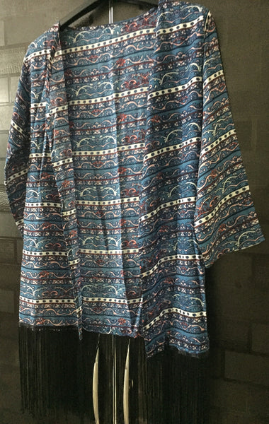 Blue Pane Printed Shrug with Black Tassels