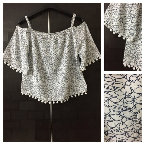 Beautiful White Oh - Fish - Cold - Shoulder Top with Pom Poms