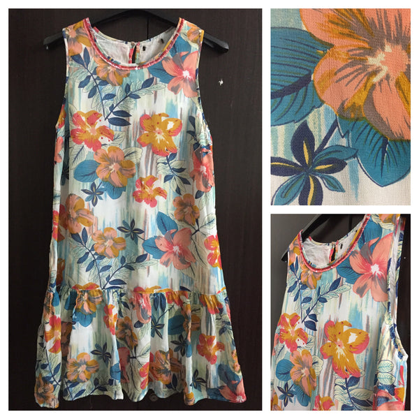 Orange Floral Sleeveless Dress