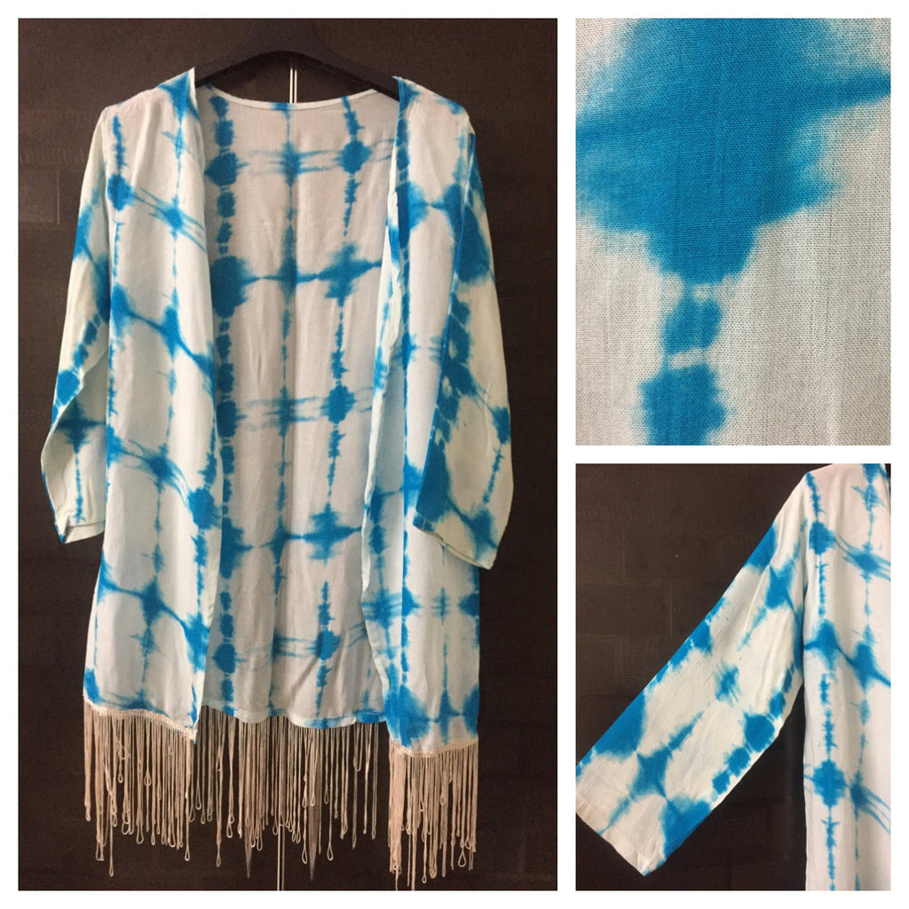 Vibrant Blue Tie & Dye Shrug with Cream Tassels