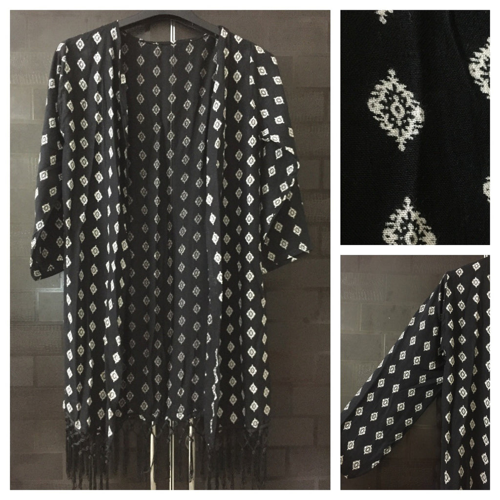 White Block Printed Shrug with Black Tassels
