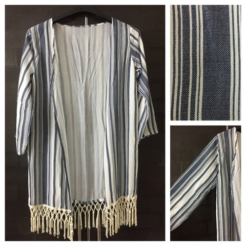 Blue and White Vertical Stripes Shrug with Cream Tassels