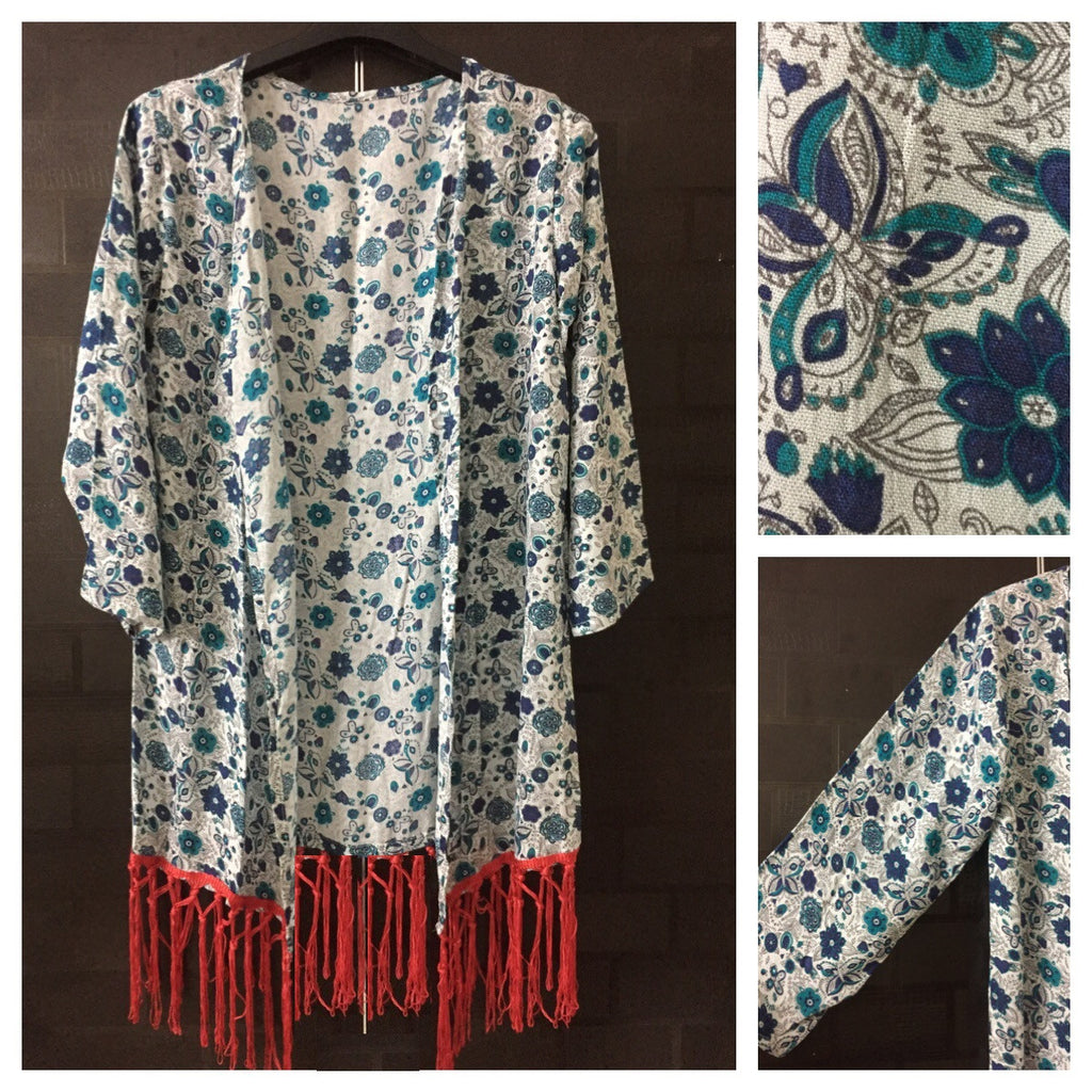 Lightest Green, Floral Printed Shrug with Vibrant Red Tassels