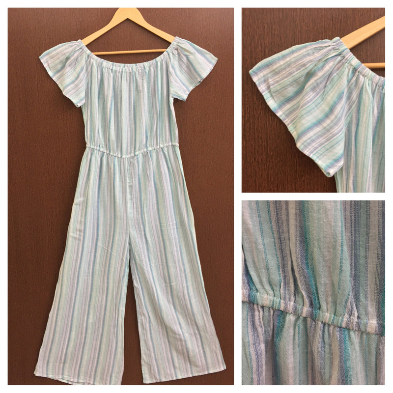 Shades Of Blue & Green Striped On/Off Shoulder Jumpsuit